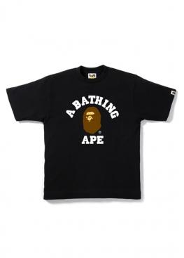 Чёрная футболка Bape College Tee Black - FA1122