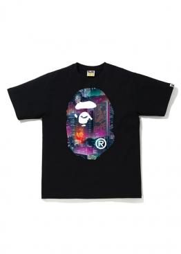 Чёрная футболка Bape Neon Tokyo Big Ape Head Tee Black - FA1125