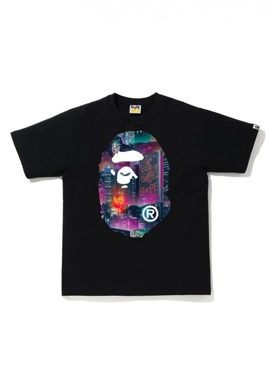 Купить чёрную футболку Bape Neon Tokyo Big Ape Head Tee Black в Киеве с доставкой по Украине