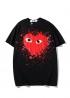 Чёрная футболка Comme des Garcons с красным сердецем - FC1114