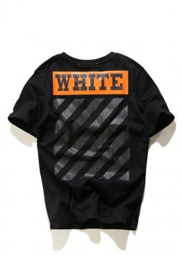 Чёрная футболка Off-white c оранжевым принтом - FO1113