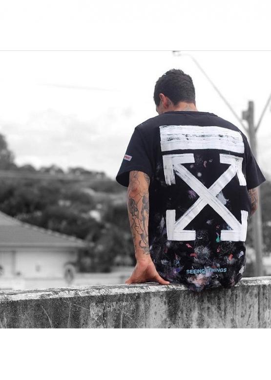 Купить чёрную футболку Off-white Art Chaos в Киеве с доставкой по Украине