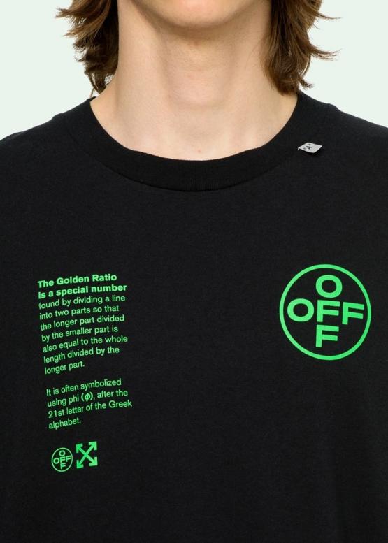 Купить чёрную футболку Off-white с принтом Golden Ratio в Киеве с доставкой по Украине