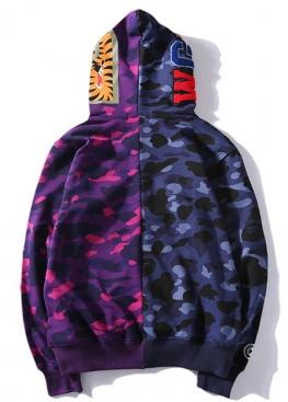 Фиолетовый худи Bape Half Camo - HA1127