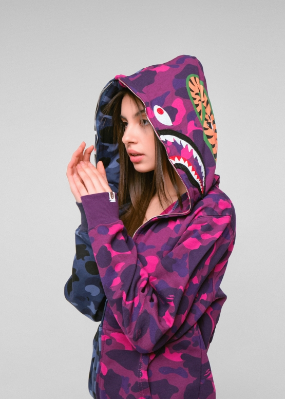 Купить фиолетовый худи Bape Half Camo в Киеве с доставкой по Украине