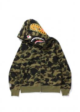 Зелёный худи Bape 1st Camo Shark Full Zip Hoodie Green - HA1139