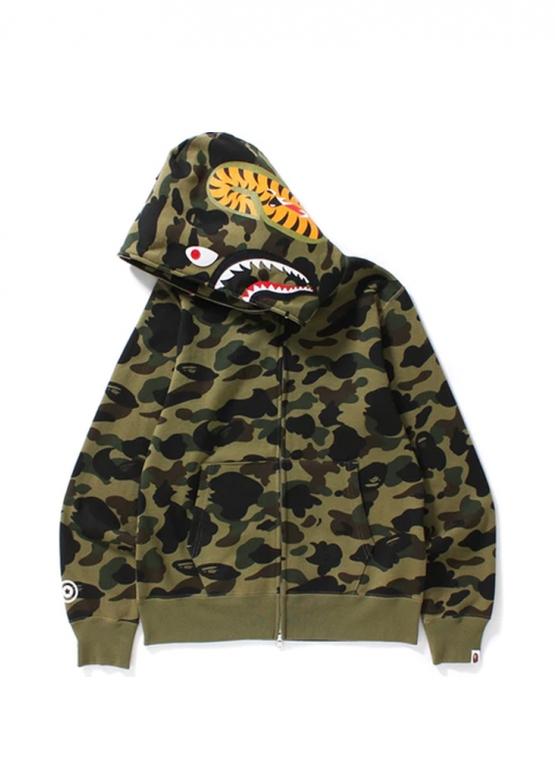 Купить зелёный худи Bape 1st Camo Shark Full Zip Hoodie Green в Киеве с доставкой по Украине