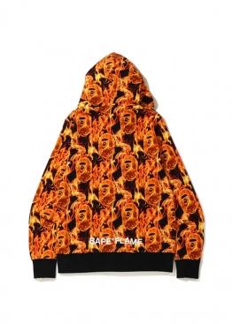 Оранжевый худи Bape Flame Wide Full Zip Hoodie Orange - HA1140