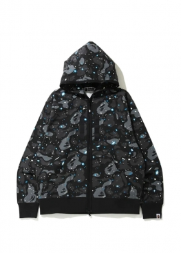 Чёрный худи Bape Relaxed Space Camo Full Zip Hoodie Black - HA1141