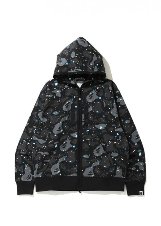 Купить чёрный худи Bape Relaxed Space Camo Full Zip Hoodie Black в Киеве с доставкой по Украине