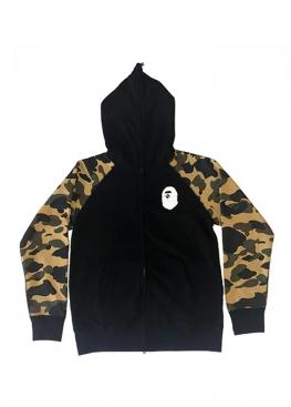 Чёрно-жёлтый худи Bape Premium Happy New Year 1st Camo Sleeves Full Zip Hoodie Black/Yellow - HA1142