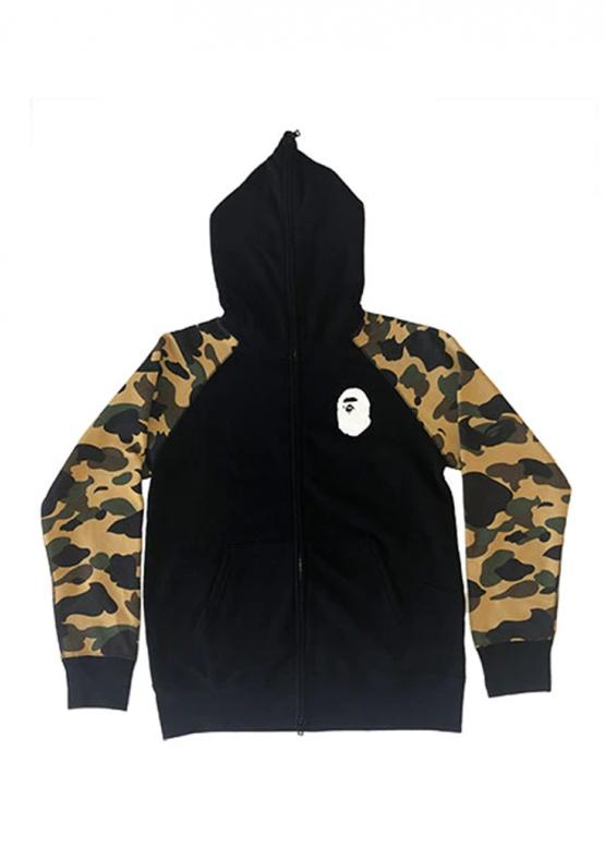 Купить чёрно-жёлтый худи Bape Premium Happy New Year 1st Camo Sleeves Full Zip Hoodie Black/Yellow в Киеве с доставкой по Украине