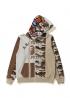 Бежевый худи Bape Desert Camo Panel Shark Full Zip Hoodie Ladies - HA1143