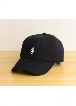 Чёрная кепка Polo Ralph Lauren с белым всадником - KL1114