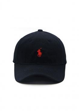 Чёрная кепка бейсболка Polo Ralph Lauren c красным всадником - KL1116