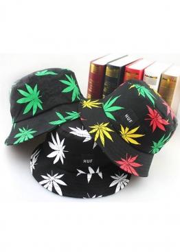 Чёрная панама Huf с белой марихуаной - PF1113