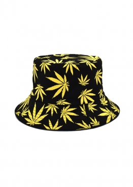 Чёрная панама с жёлтой марихуаной - PF1114