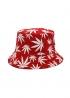 Красная панама с белой марихуаной - PF1115