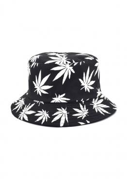 Чёрная панама с белой марихуаной - PF1116