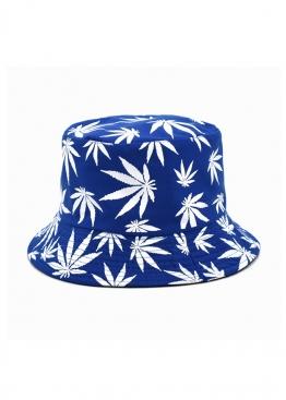 Синяя панама с белой марихуаной - PF1117