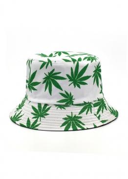 Белая панама с зелёной марихуаной - PF1119