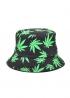 Чёрная панама с зелёной марихуаной - PF1121