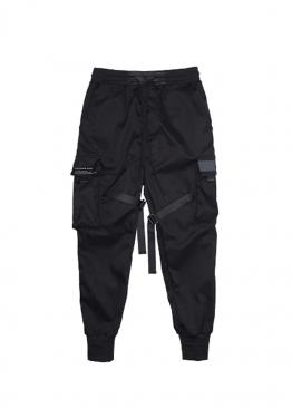 Чёрные штаны в стиле Cyberpunk с ремнями - TL1111
